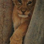 Lion Cub in Tree 36 by 20ins 2014