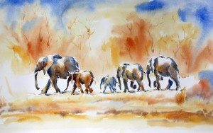 Ele herd, three colour painting, Julia Cassels, available at The Frame, Odiham.