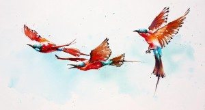 Julia Cassels, Carmines in Flight, available at The Frame Odiham.