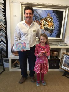 Winner of our Elephant Parade Colouring Competitiona t The Frame Gallery in Odiham.