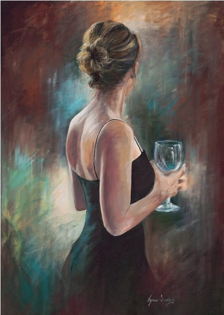 Girl In An Evening Dress by Lynne Davies. Prints available to buy from The Frame Gallery in Odiham via the online shop.