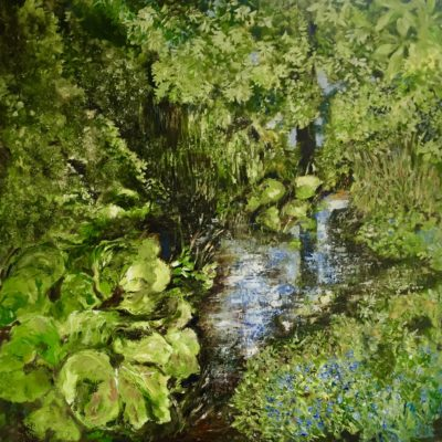 "'Forget Me Not Stream"" Oil on Canvas 100cm x 100cm Framed £950. Available at The Frame Gallery in Odiham."
