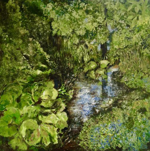 """'Forget Me Not Stream"""" Oil on Canvas 100cm x 100cm Framed £950. Available at The Frame Gallery in Odiham."""