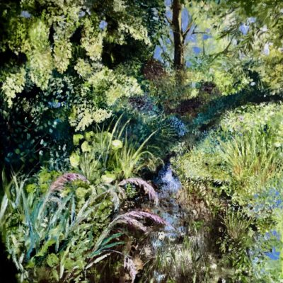 "'Secret Stream "" Oil on deep Canvas 100cm x 100cm unframed £950. Available at The Frame Gallery in Odiham."