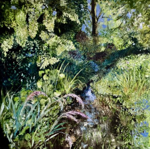 """'Secret Stream """" Oil on deep Canvas 100cm x 100cm unframed £950. Available at The Frame Gallery in Odiham."""