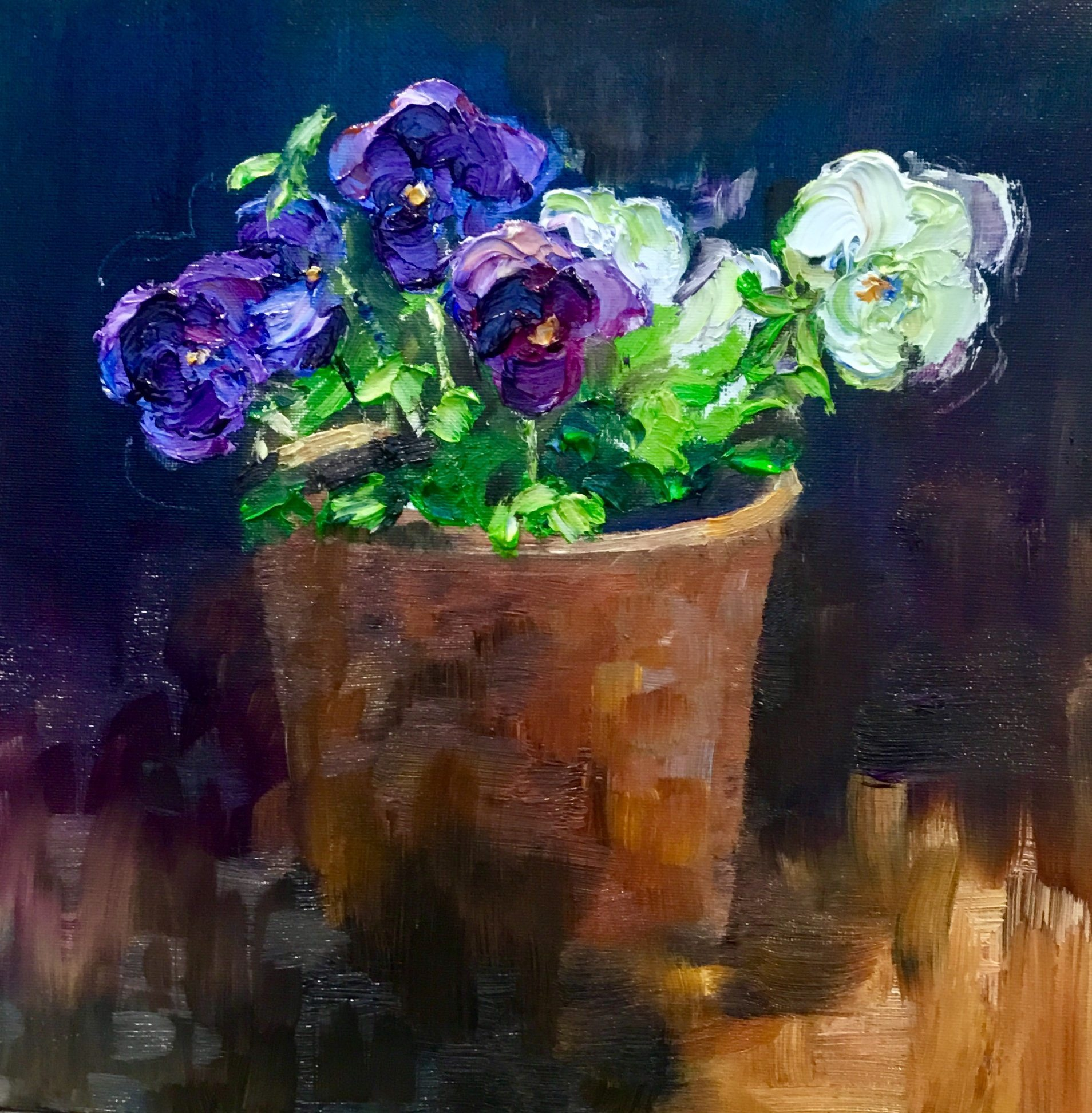 """Perfect Pansies"" 43cm x 43cm Oil on board. Framed £275.00. Available at The Frame Gallery in Odiham."