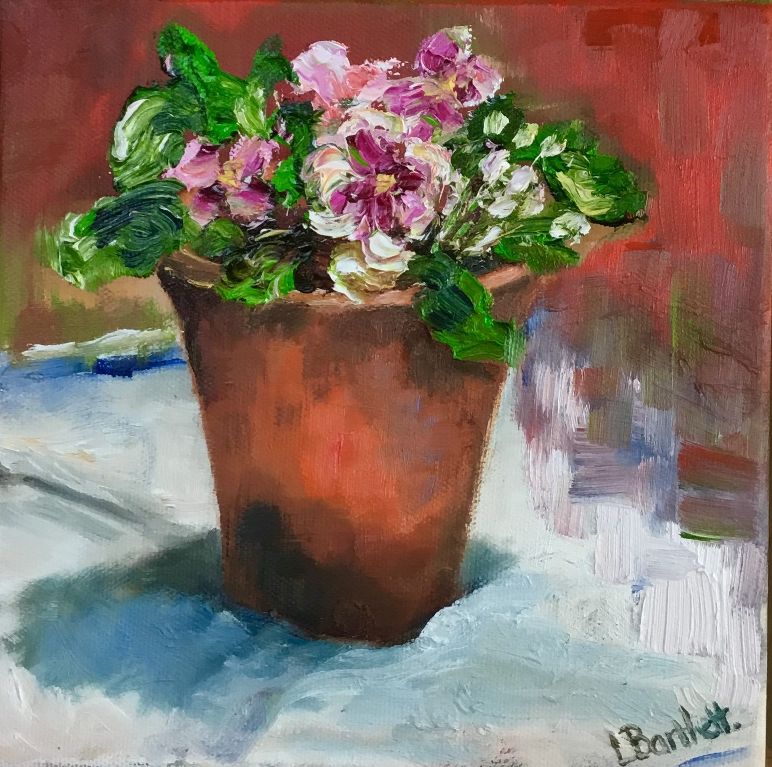"""Pink Primroses"" Oil on deep canvas 20cm x 20cm £150.00. Available at The Frame Gallery in Odiham."