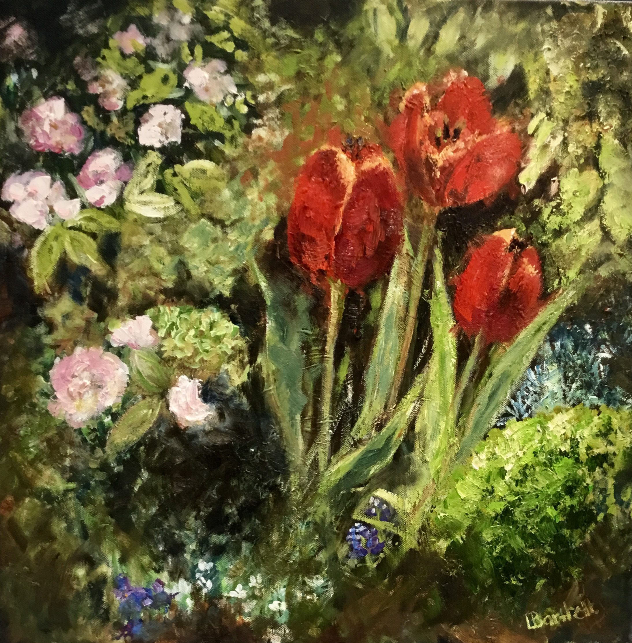 """Ruby Tulips"" 50cm x 50cm Oil on deep canvas £450.00. Available at The Frame Gallery in Odiham."