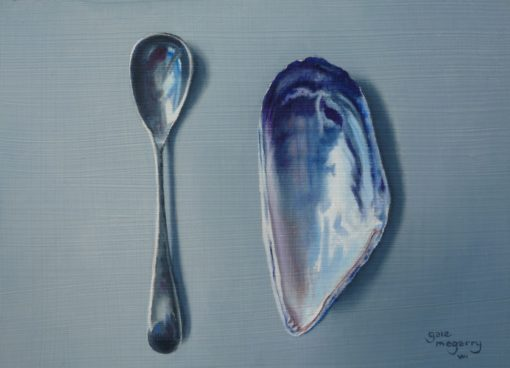 Mustard Spoon and Mussel Shell by Gale McGarry, available at The Frame Gallery in Odiham.