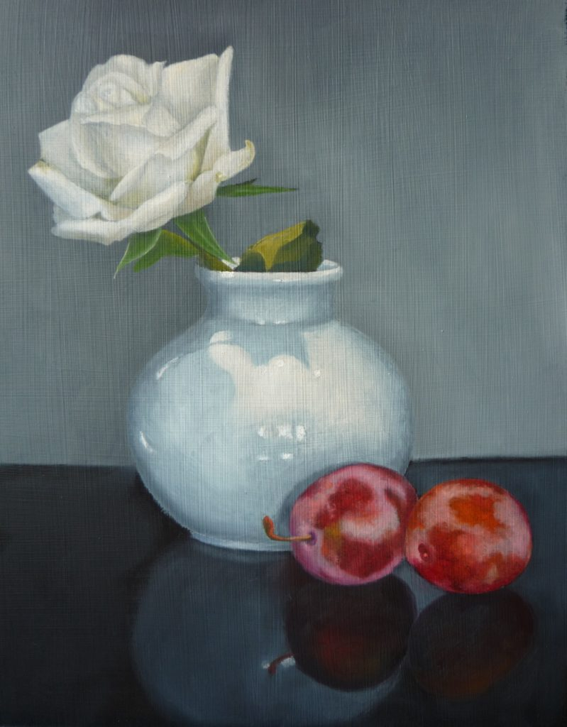White Rose Red Plums by Gale McGarry, available at The Frame Gallery in Odiham.